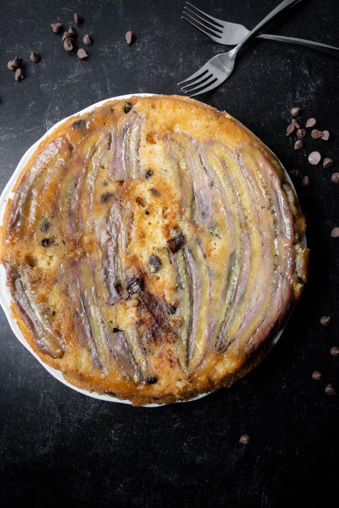 banana chocolate chip upside down cake