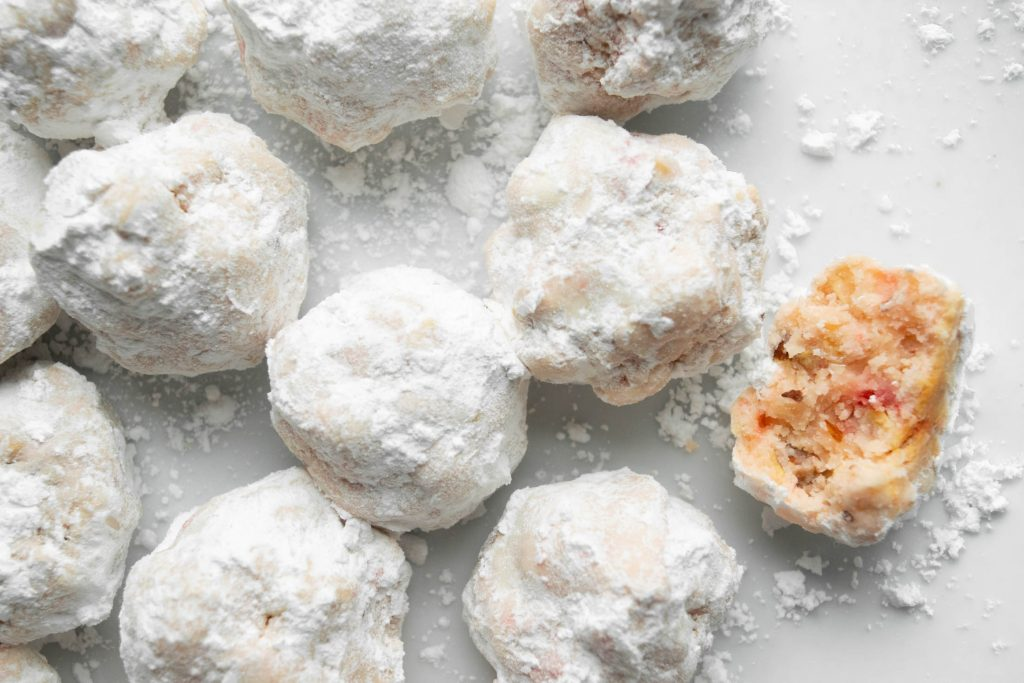 Gluten Free Snowballs with Cherries, White Chocolate and Almonds