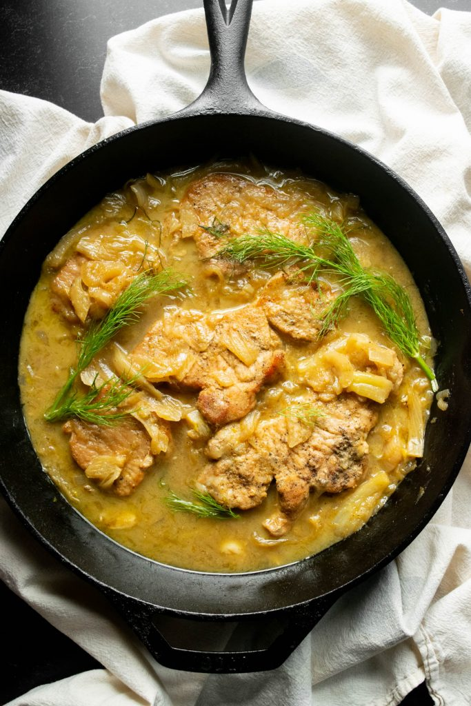 One Pan Fennel Dijon Pork Chops