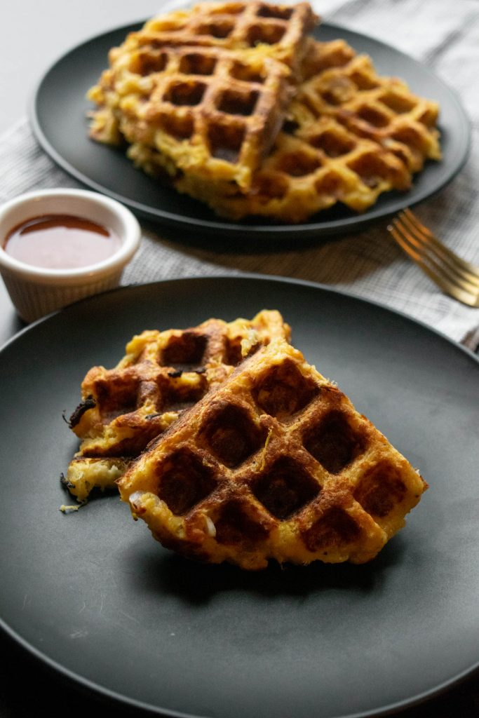 Spaghetti Squash Hash Brown Waffles with Parmesan
