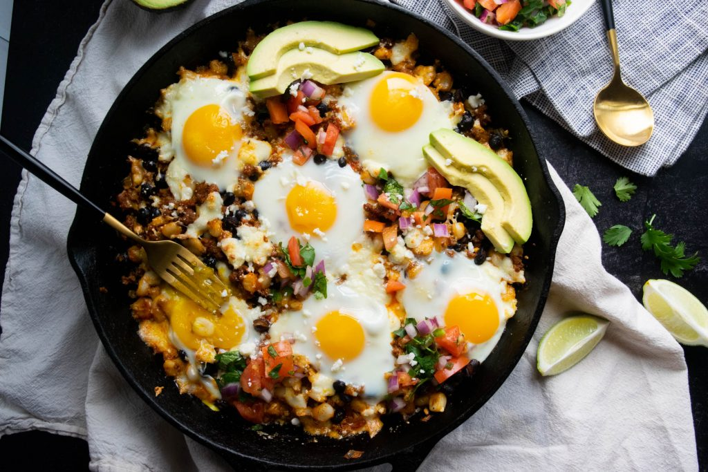 Huevos Rancheros Skillet with Chorizo and Hominy