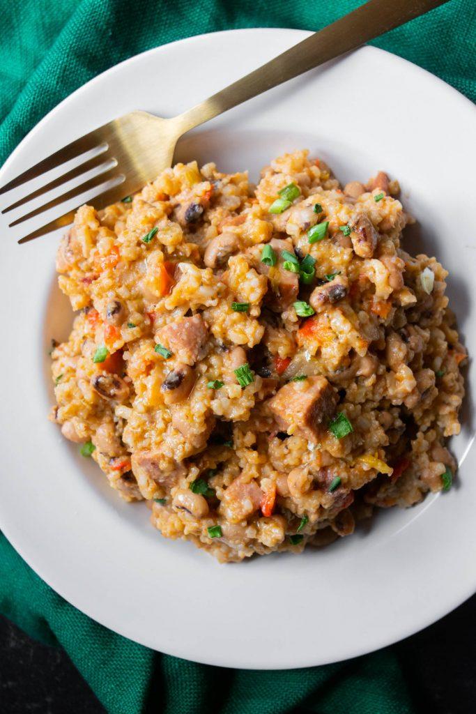 black eyed peas, rice, andouille