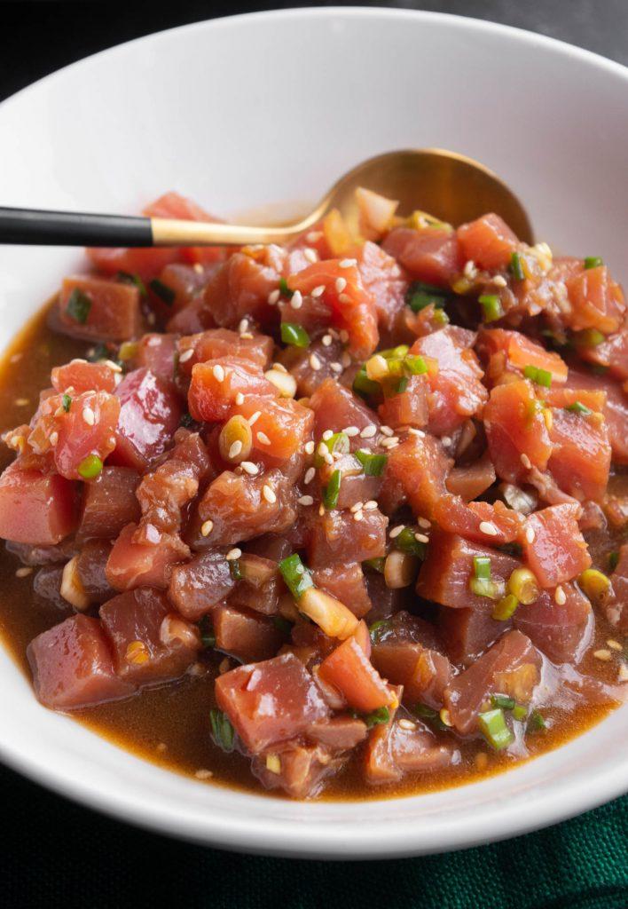 serving the ahi tuna poke