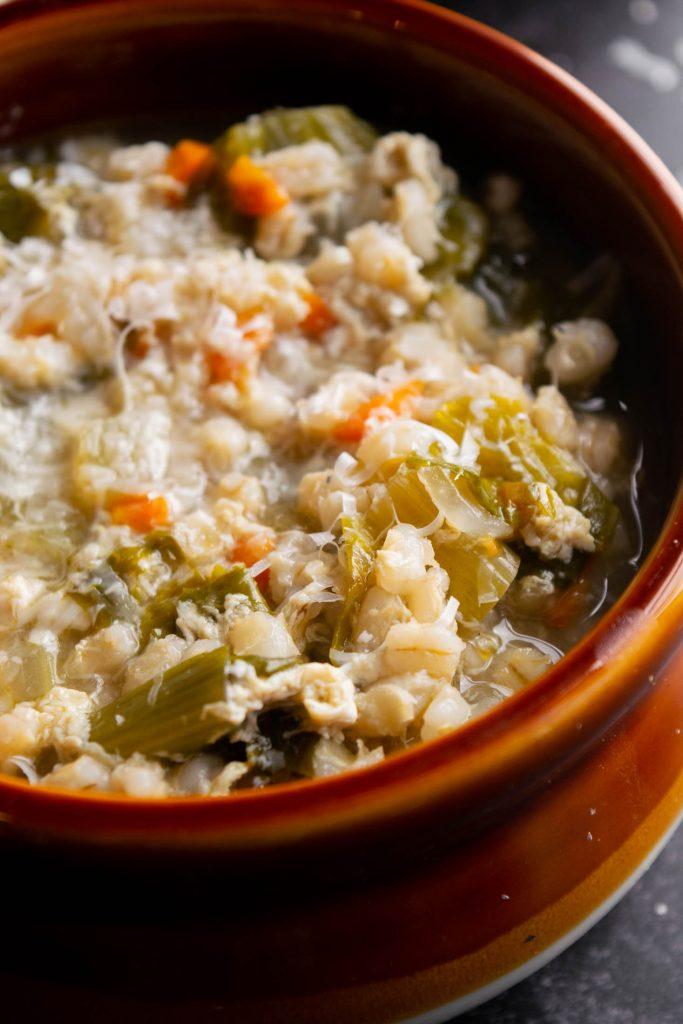 barley soup with parmesan