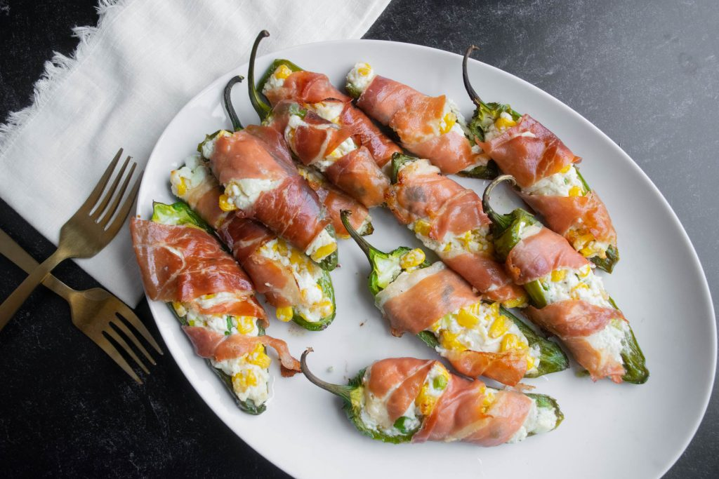 Prosciutto Wrapped Jalapeño Poppers with Corn and Goat Cheese