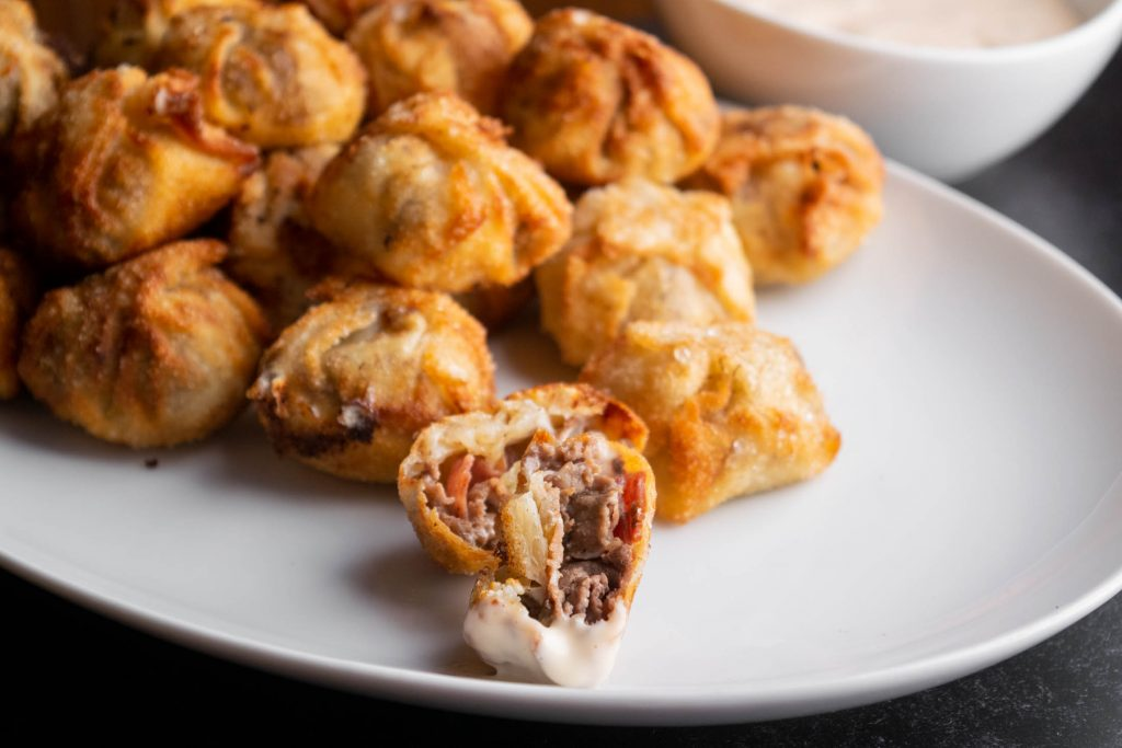Salami Cheesesteak Wontons with Tangy Special Sauce