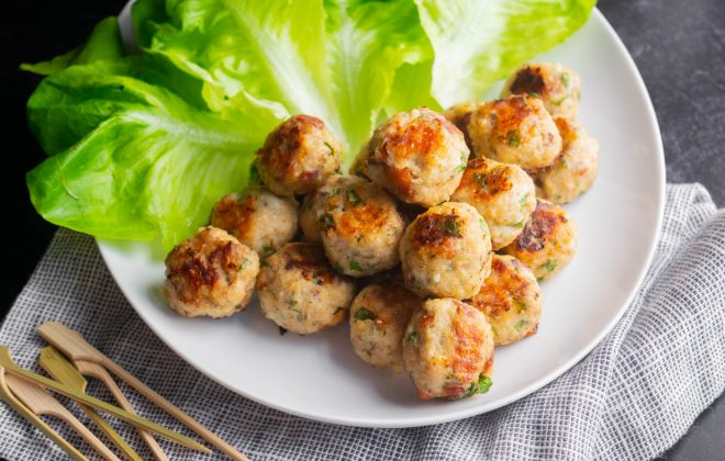 Baked Bacon Ranch Chicken Cocktail Meatballs with Greek Yogurt Ranch
