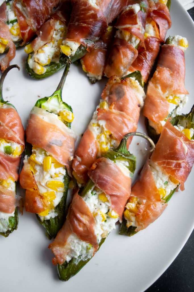 Jalapeño Poppers with Prosciutto, Corn and Goat Cheese