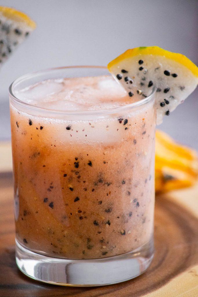 closeup of dragon fruit drink