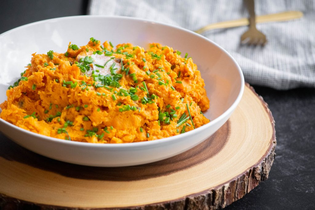 Chipotle Smashed Sweet Potatoes (Microwave Recipe)