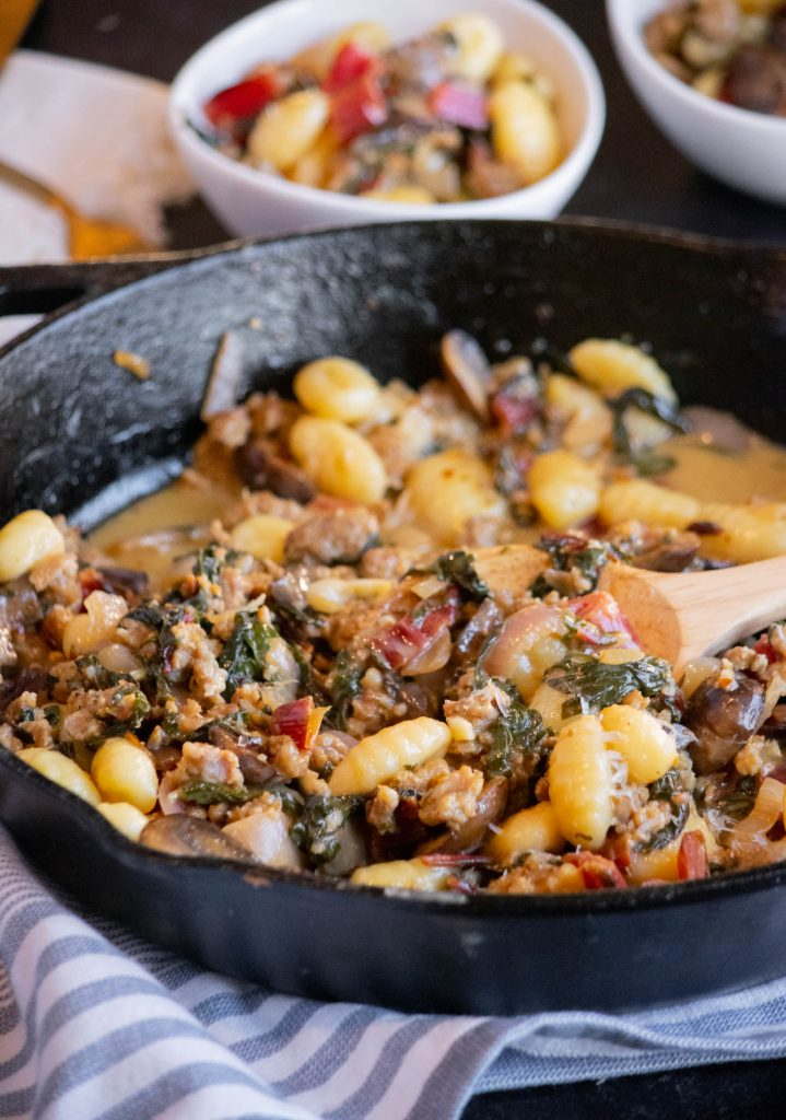 Potato Gnocchi with Italian Sausage, Swiss Chard and Mushrooms