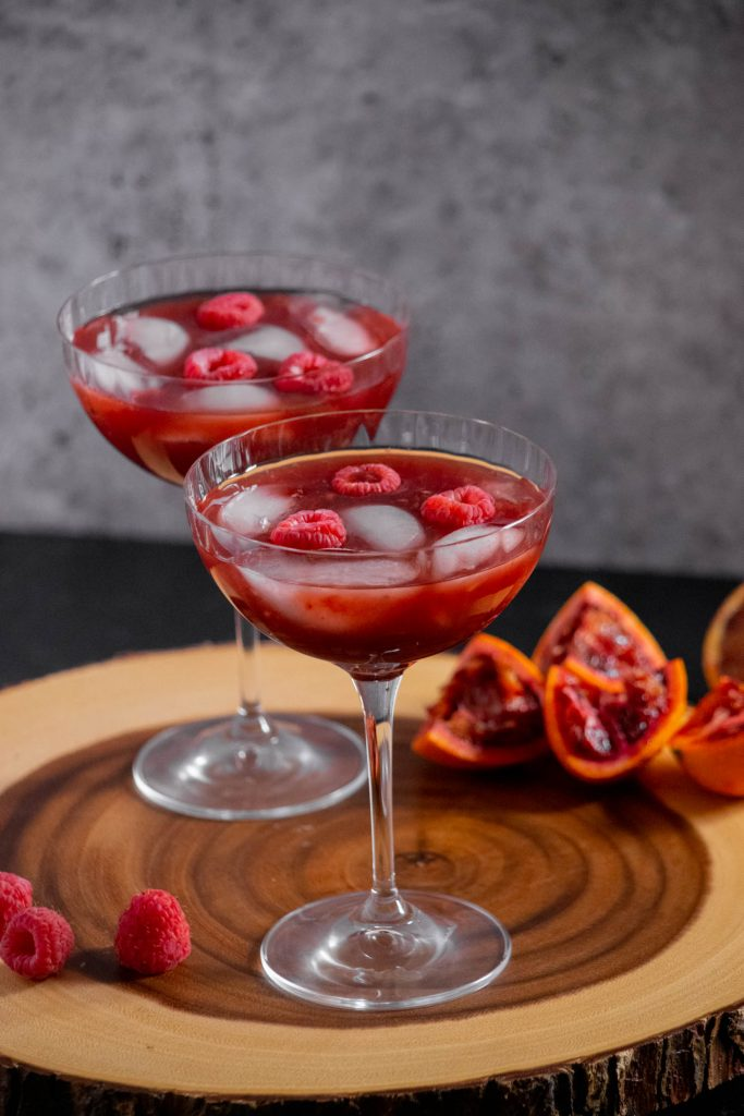 2 glasses of Berry Blood Orange Rum Punch