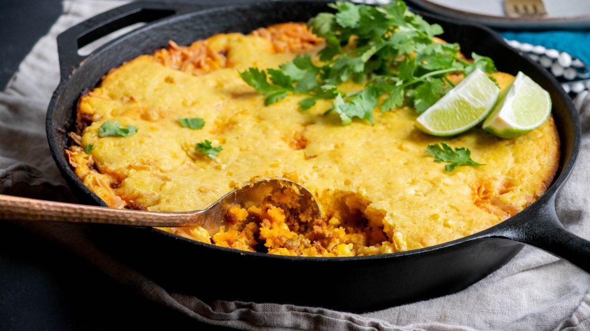 Mexican Chorizo Cornbread Skillet Casserole