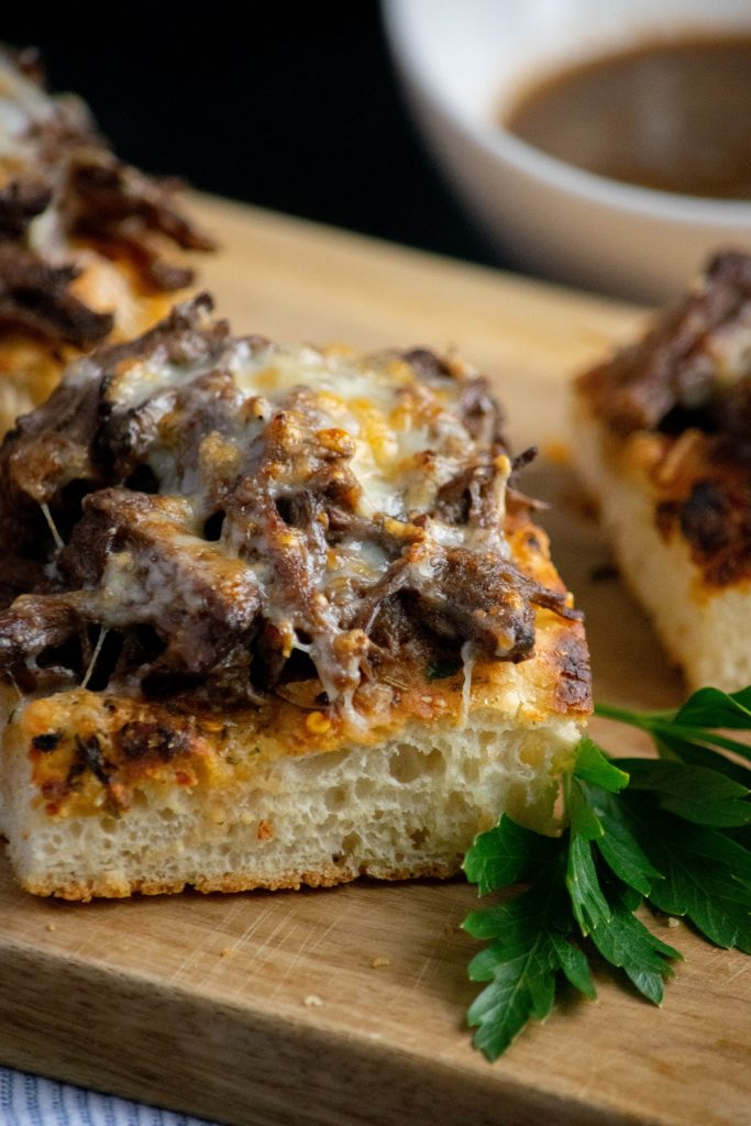 chicago Italian beef open faced sandwiches