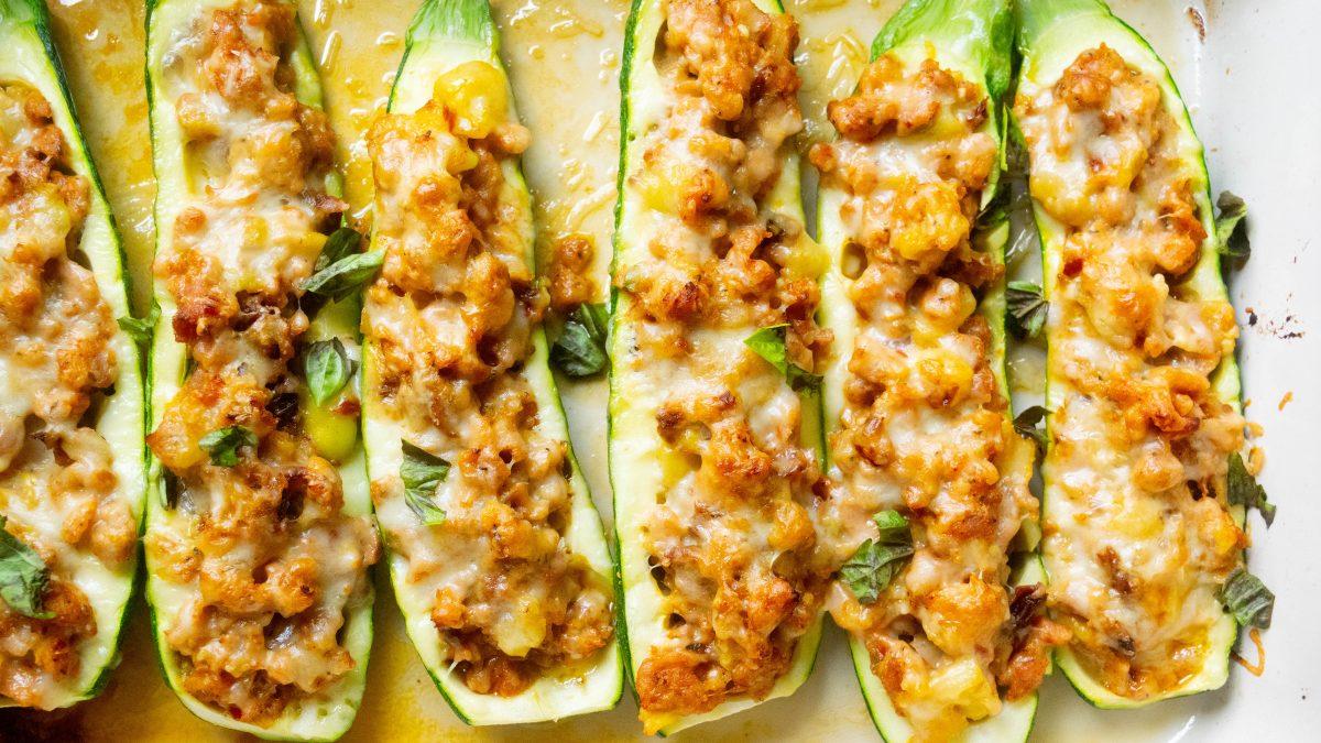 Chicken Sausage Zucchini Boats