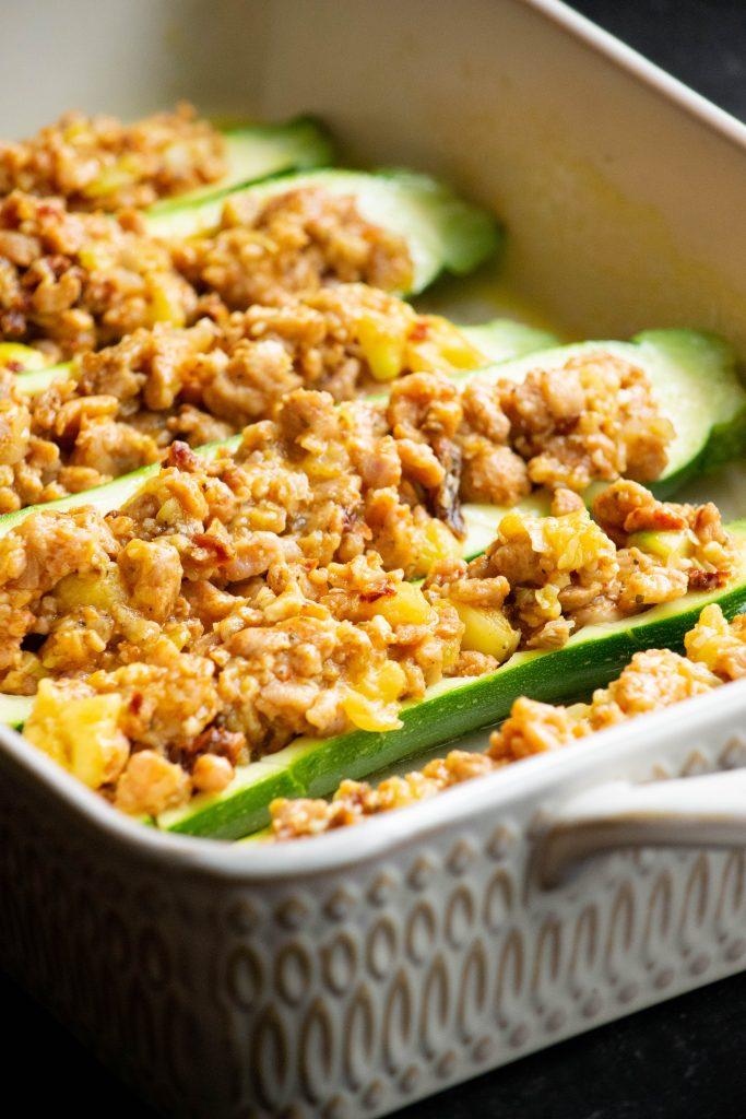 stuffing zucchini