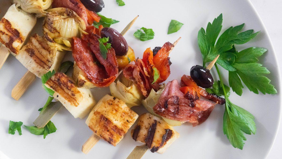 Grilled Halloumi Antipasta Skewers
