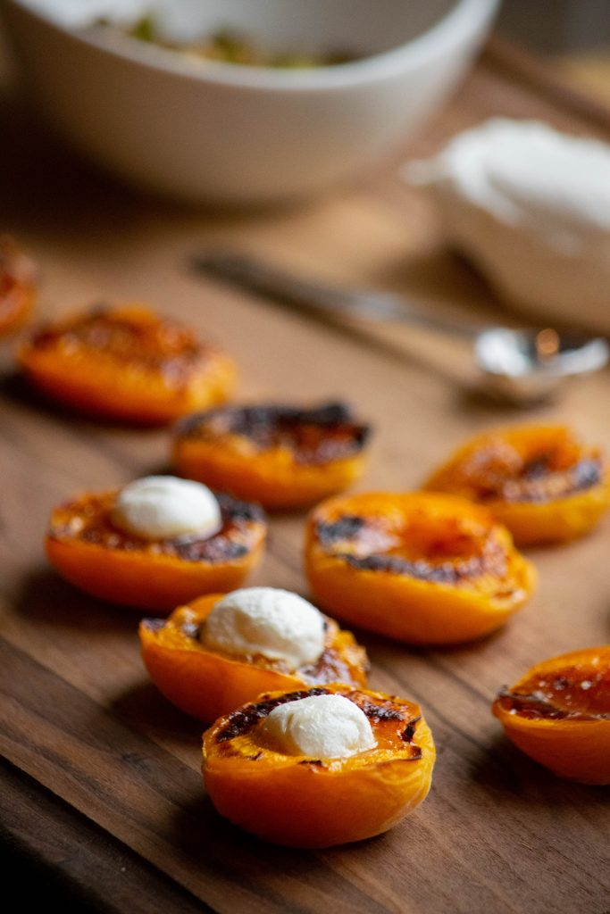 stuffing the apricots