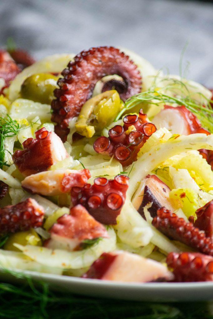 closeup octopus salad