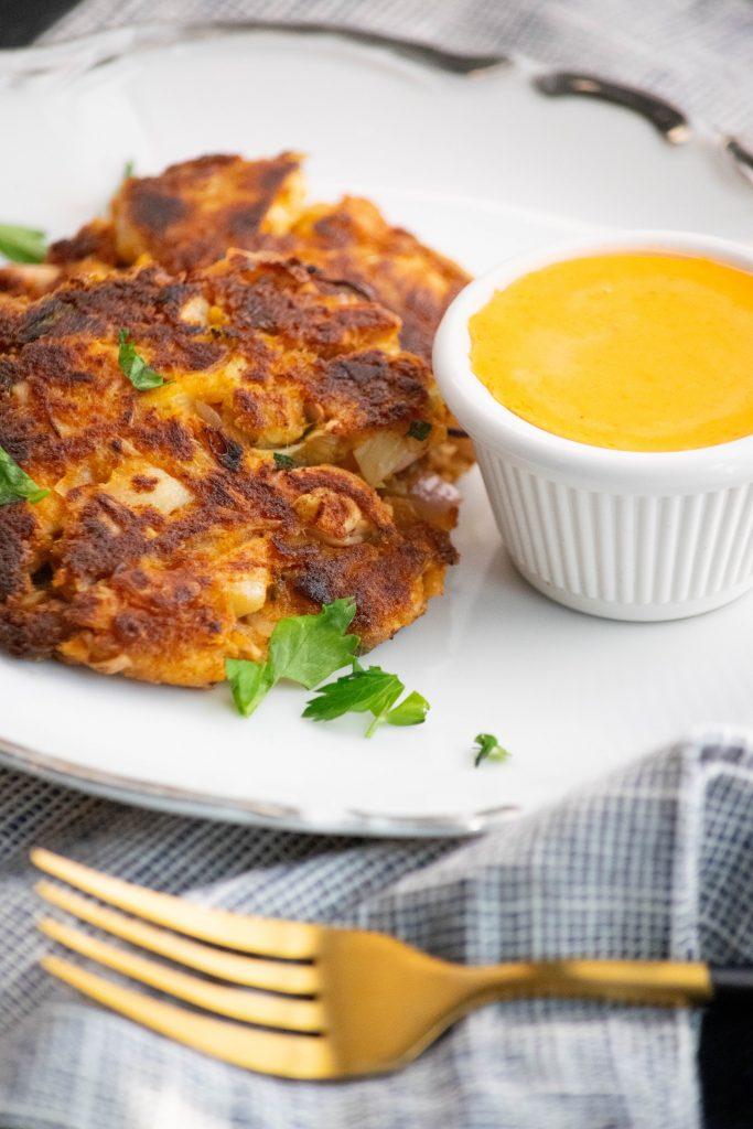 pan fried vegan crab cake