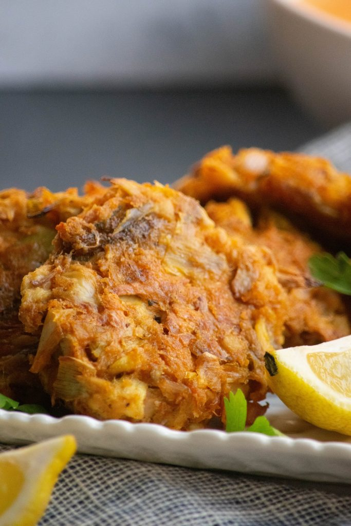 Vegan Crab Cakes with Roasted Red Pepper Sauce
