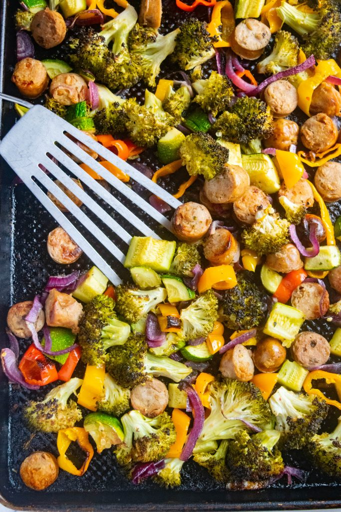 Healthy Sheet Pan Dinner with Chicken Sausage and Roasted Veggies