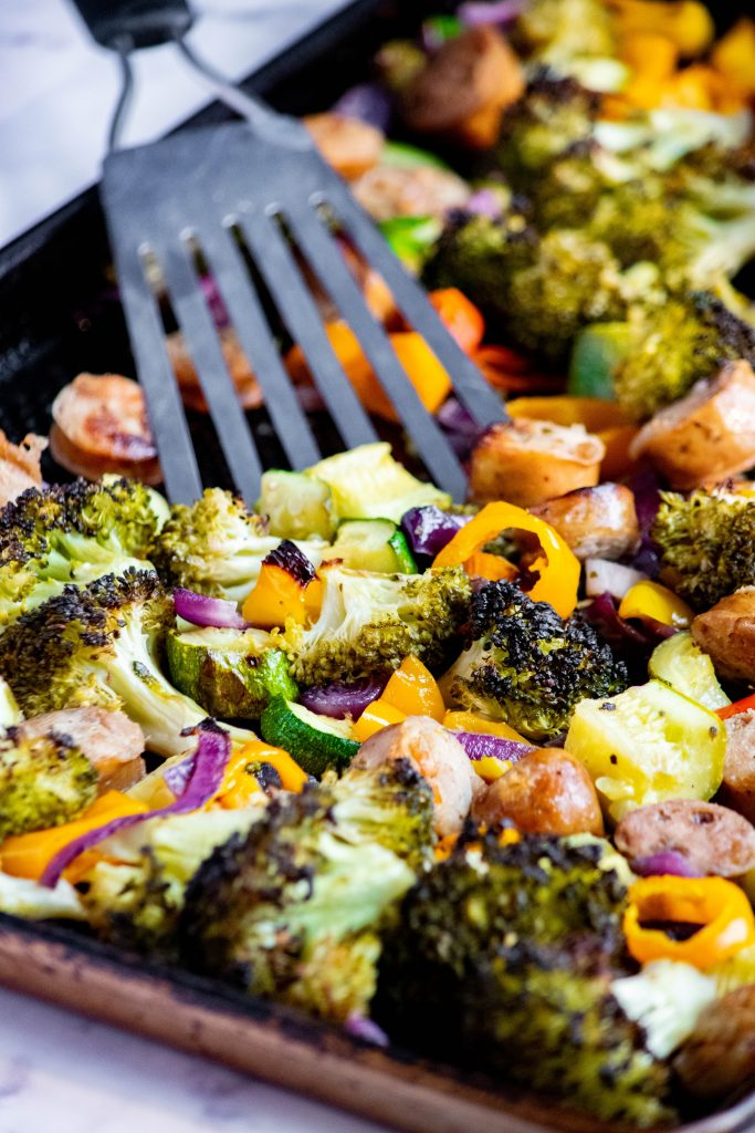chicken sausage healthy sheet pan out of the oven